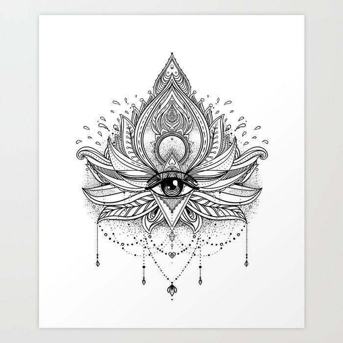 Lotus Flower + All Seeing Eye. Art Print By Varvaragorbash