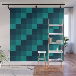 Ocean Waves - Pixel patten in dark blue Wall Mural