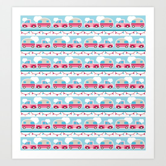 Glamping stripes Art Print