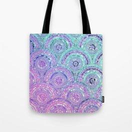 Aqua Blue Purple and Pink Sparkling Glitter Circles Tote Bag