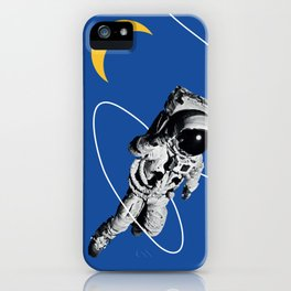 Astronaut Floating in Blue Space iPhone Case