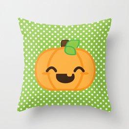 Kawaii Jack O Lantern Pumpkin - Orange and Green Throw Pillow