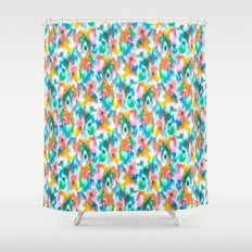 Paradise Watercolor Ikat Shower Curtain