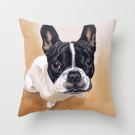 French Bulldog Gouache Artwork Throw Pillow