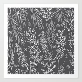 Charcoal Leafy Boughs Modern Botanical Art Print