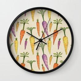 Heirloom Carrots on Cream Wall Clock