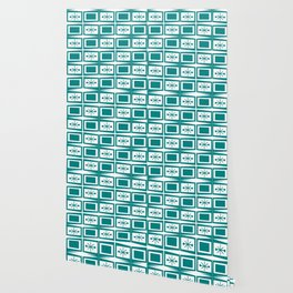 Teal Mid Century Modern Starburst Tiles Wallpaper