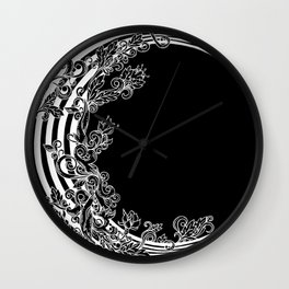 Striped Floral Moon at Midnight Wall Clock