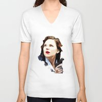 peggy carter V-neck T-shirts featuring Peggy Carter by Ms. Givens