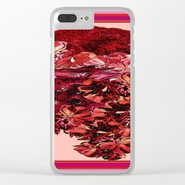 Cranberry-Pink Color Floral Brown Pattern Clear iPhone Case