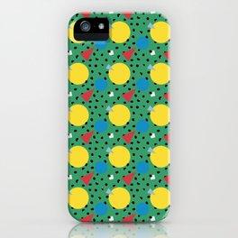 Leopard Geo Mix Pattern Multi Color Print - Green iPhone Case