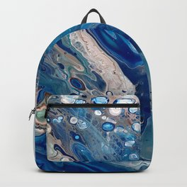 Blue Marbled Fluid Painting Unique Swirls Water Backpack