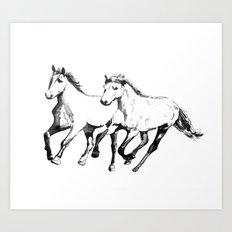 Horses, black and white Art Print