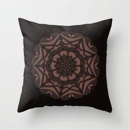 Black & Tan Floral Regal Mandala Throw Pillow