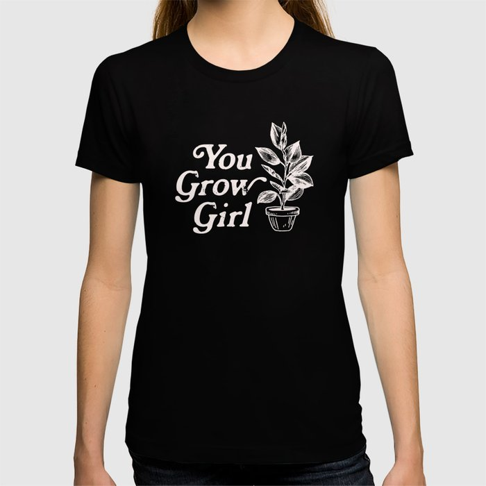 You Grow Girl Blue & Cream T-shirt