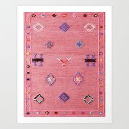 Pink Oriental Traditional Boho Moroccan Style Design Artwork Art Print