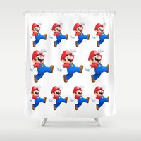 mario Shower Curtains featuring Mario by Maxvision