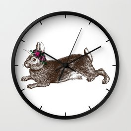 The Rabbit and Roses Wall Clock