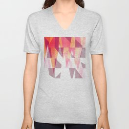 Abstract Geometric Mountains Design Unisex V-Neck