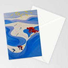 Vintage Winter Sports in France Travel Stationery Cards