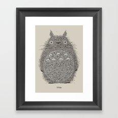 Cream Totoro Framed Art Print