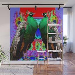 GREEN PEACOCKS & RED-PURPLE  MODERN ART Wall Mural