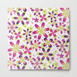 Abstract Art 20 24 Graphic fine art Ornament floral zigzag mixed pink green random Geometry pattern Metal Print
