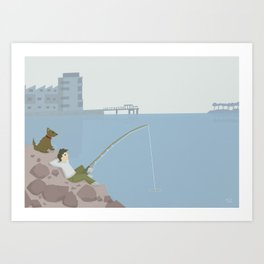 Fishing Beach Wall Art, Beach Art Nursery Decor, Nursery Wall Art for Boys Room Art Print
