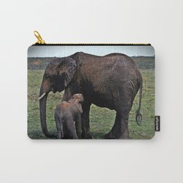 Wild African Elephants -Mother And Baby Carry-All Pouch