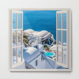 Santorini Greece | OPEN WINDOW ART Metal Print