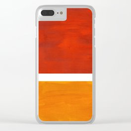 Burnt Orange Yellow Ochre Mid Century Modern Abstract Minimalist Rothko Color Field Squares Clear iPhone Case