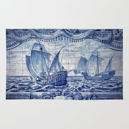 Portuguese Caravelas Azulejo art Rug