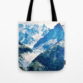 Watercolor Mount Le Blanc Tote Bag