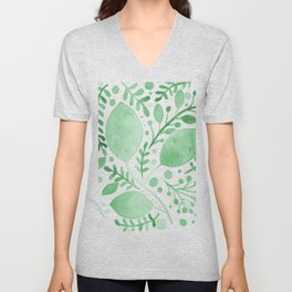 Branches and leaves - green Unisex V-Neck