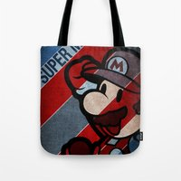 super mario Tote Bags featuring SUPER MARIO by sbs' things
