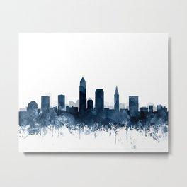Cleveland Skyline Navy Blue Watercolor by ZouzounioArt Metal Print