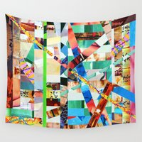 bianca green Wall Tapestries featuring Bianca (stripes 22) by Wayne Edson Bryan