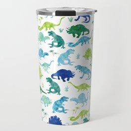 Watercolor Dinosaur Pattern White Green Blue Travel Mug