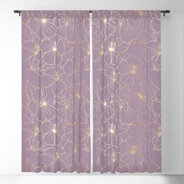 Faux Gold & Mauve Hibiscus Blackout Curtain