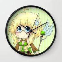magical girl Wall Clocks featuring Magical Girl Kiwi by Kiwikidinc