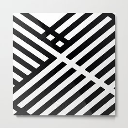 BLACK AND WHITE INTERSECTION PATTERN Metal Print