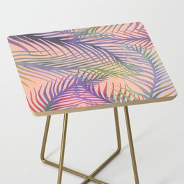 Palm Leaves Pattern - Purple, Peach, Blue Side Table
