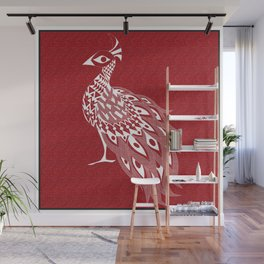 crimson peacock pavo real ecopop Wall Mural