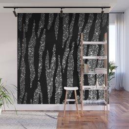 Black and Silver Glitter Zebra Stripes Wall Mural