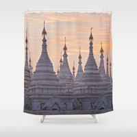 buddhism Shower Curtains featuring Sandamani Pagoda, Mandalay, Myanmar by Maria Heyens