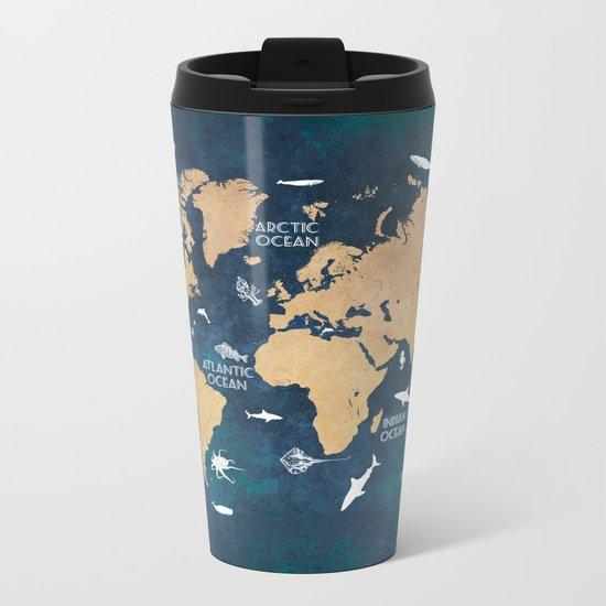 World Map Oceans Life blue Metal Travel Mug