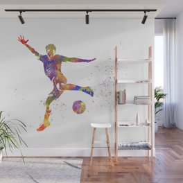 Male soccer player in watercolor Wall Mural