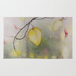 Autumn Leaf Watercolor Painting Rug