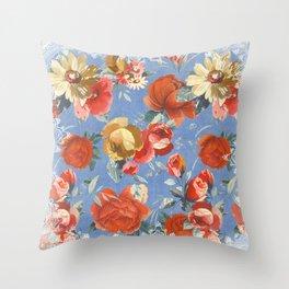 blue denim fan Throw Pillow