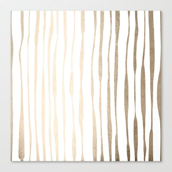 White Gold Sands Ink Pinstripes Canvas Print